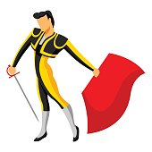 Traditional spainish corrida. Toreador with sword and red cape.
