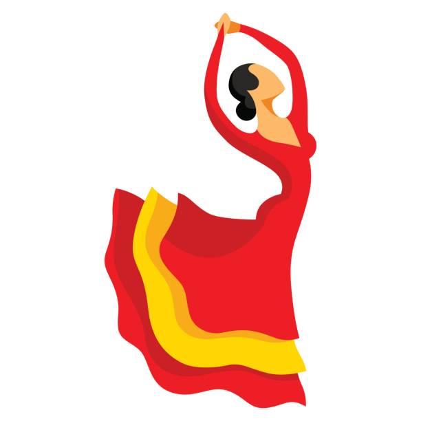 Flamenco traditionnel espagnol. Femme en robe rouge est la danse - Illustration vectorielle