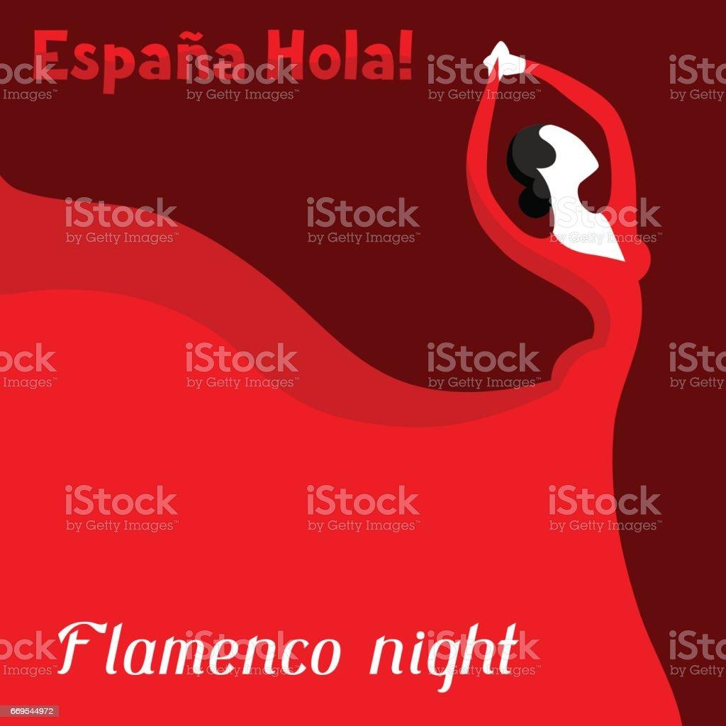 Flamenco español tradicional. Mujer en vestido rojo está bailando - ilustración de arte vectorial
