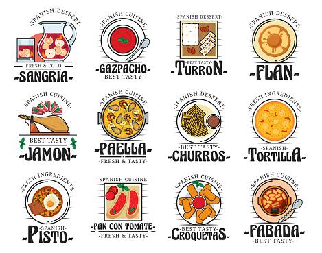 Traditional Spanish cuisine food dishes, bar menu