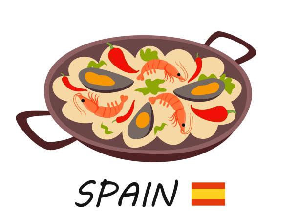 stockillustraties, clipart, cartoons en iconen met traditionele spaanse gerecht paella. vectorillustratie. - paella