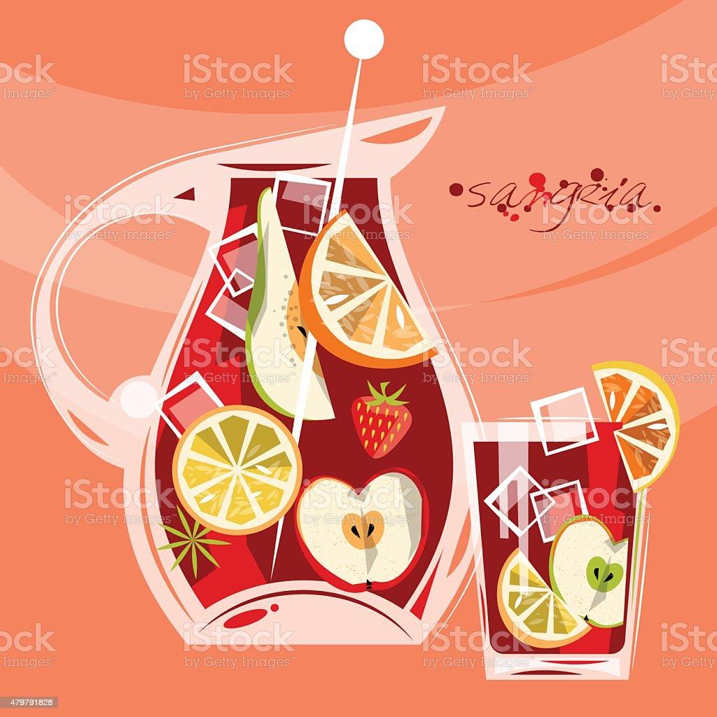 Traditionelle Spanische Getränke Genießen Sangria Stock Vektor Art ...
