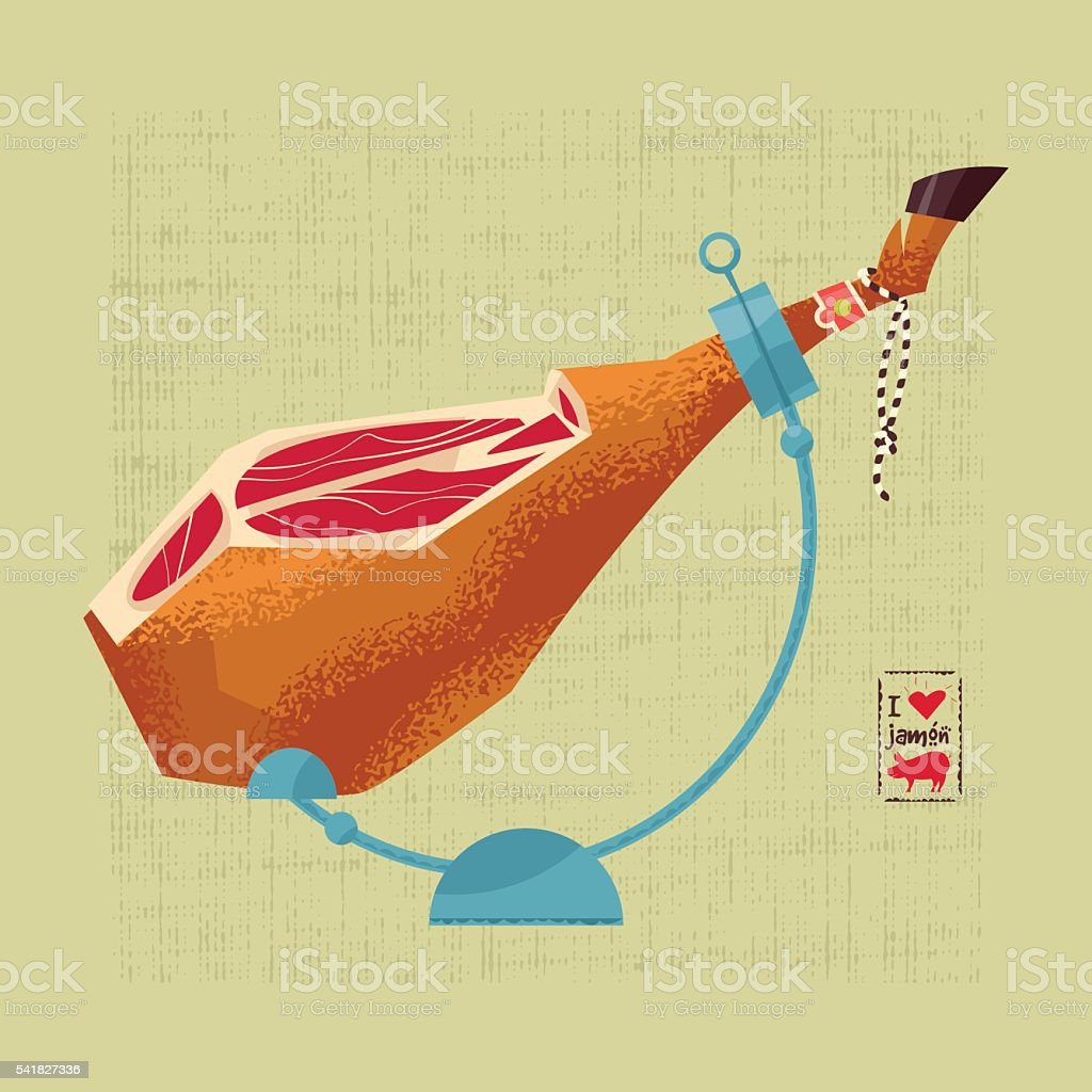 Traditional spanish food. Jamón. Dry-cured Spanish ham. vector art illustration