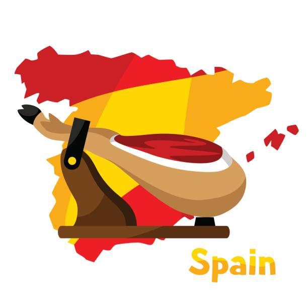ilustraciones, imágenes clip art, dibujos animados e iconos de stock de jamón de la comida tradicional española. pierna de cerdo de ilustración en el mapa de fondo de españa - comida española