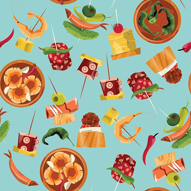ilustraciones, imágenes clip art, dibujos animados e iconos de stock de españolas tradicionales alimentos. selección de tapas. patrón sin costuras fondo. - comida española