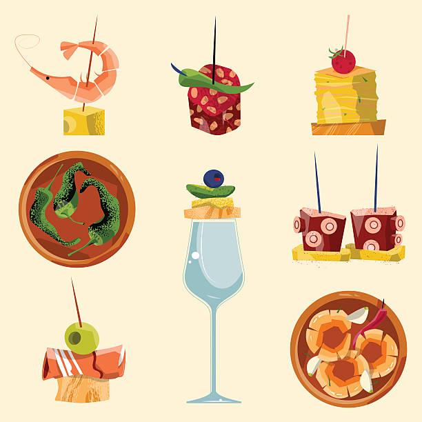 ilustraciones, imágenes clip art, dibujos animados e iconos de stock de españolas tradicionales alimentos. selección de tapas. - comida española