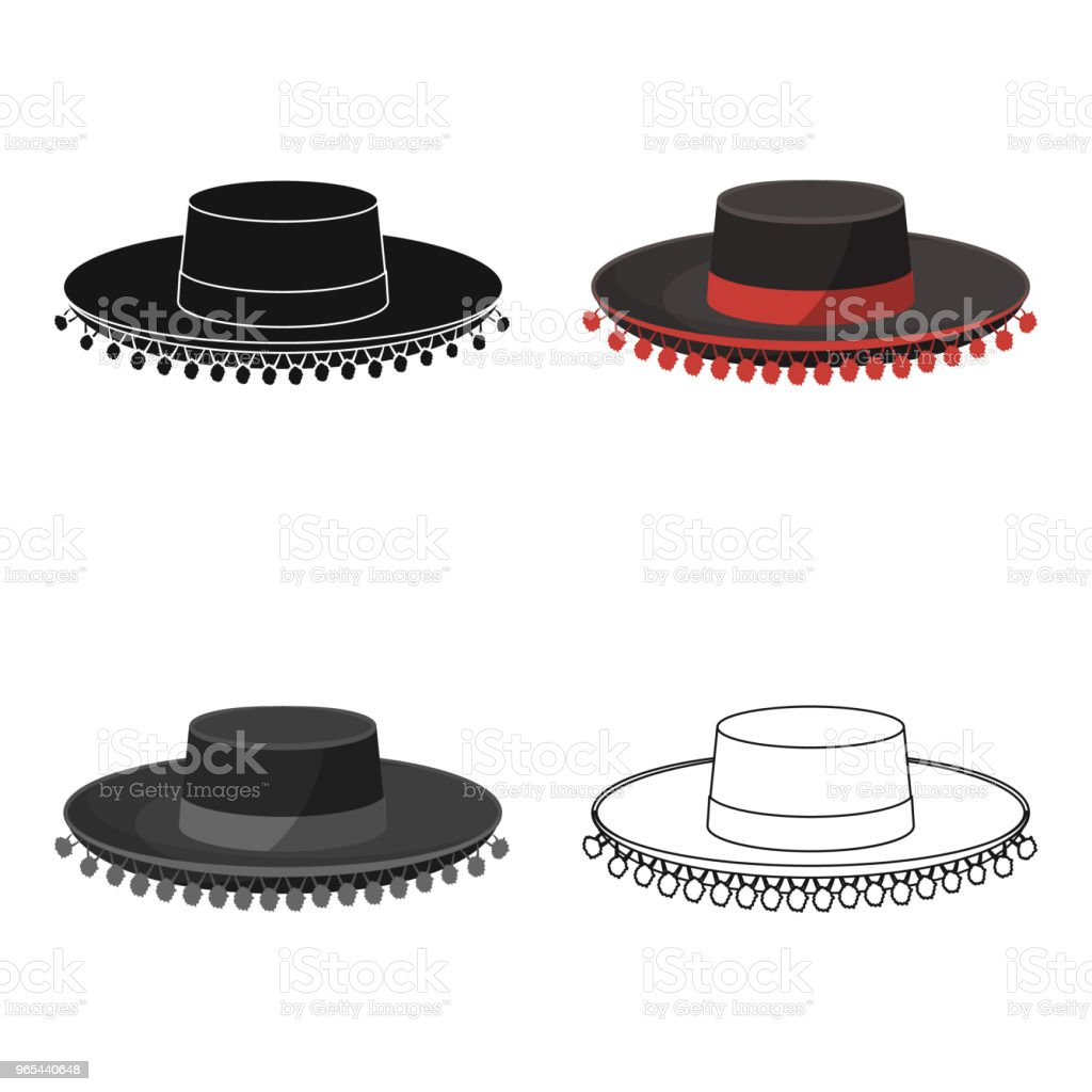 Traditional spanish hat icon in cartoon style isolated on white background. Spain country symbol stock vector web  illustration. royalty-free traditional spanish hat icon in cartoon style isolated on white background spain country symbol stock vector web illustration stock vector art & more images of art and craft