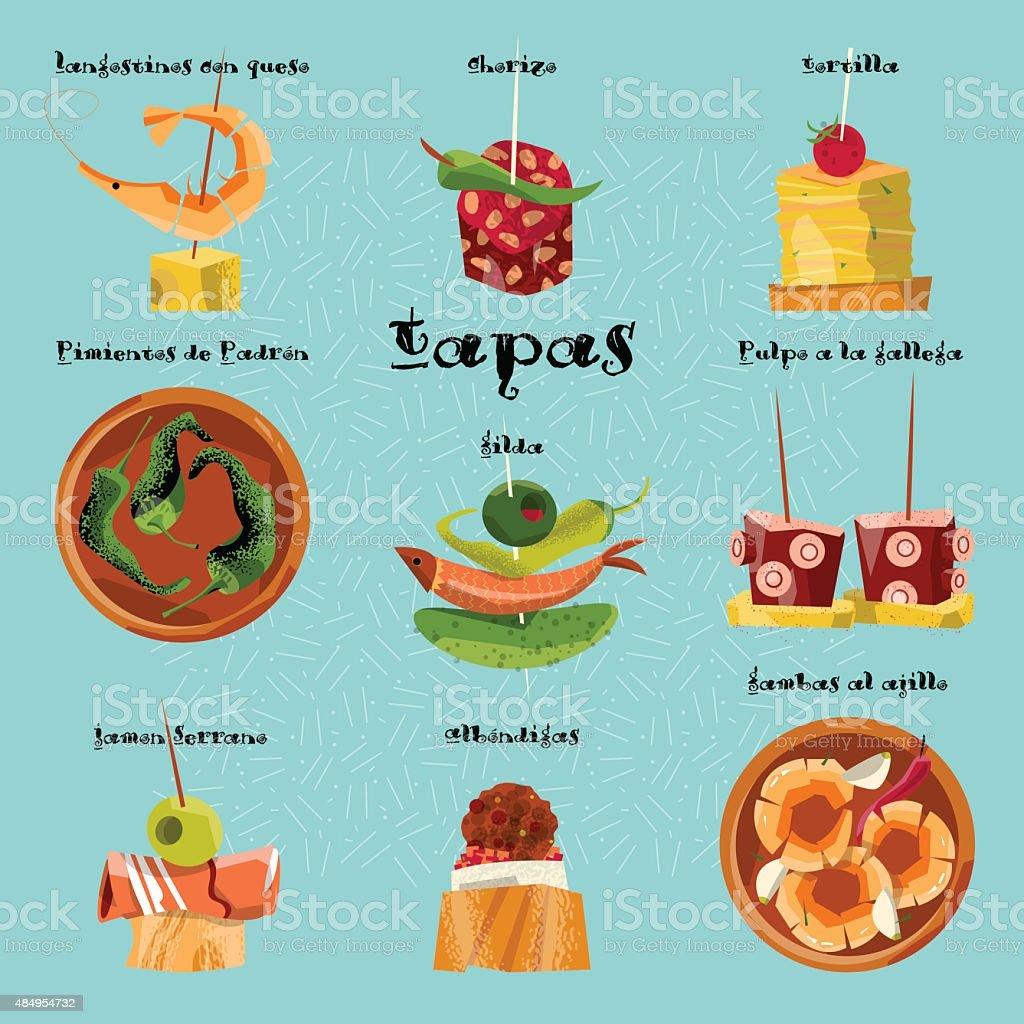 伝統的なスペインの軽食をお楽しみください。選択したタパスをお召し上がりいただけます。 ベクターアートイラスト