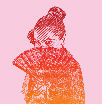 Traditional Spanish woman with hand fan.