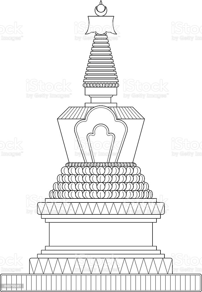 Vector Drawing Lines App : Traditional stupa stock vector art more images of