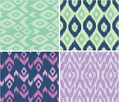4 different patterns made with elemental ikat style illustrations. these are grouped and to be used as seamless swatches, or backgrounds.