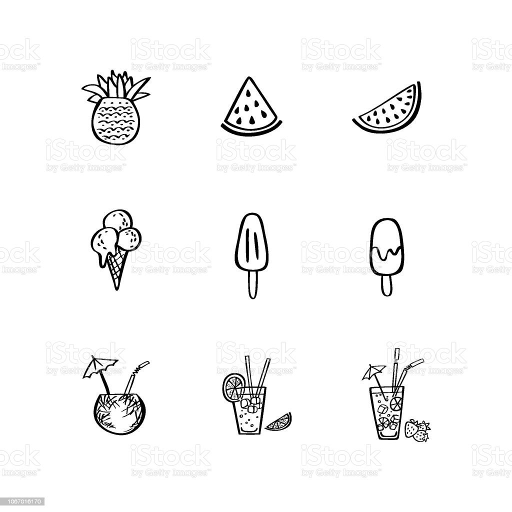 Traditional summer food hand drawn icon set in doodle style. Perfect vector design elements vector art illustration