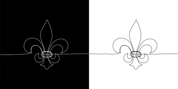 Traditional symbol of mardi gras - fleur de lis. Continuous line heraldic lily on black and white background. Vector illustration