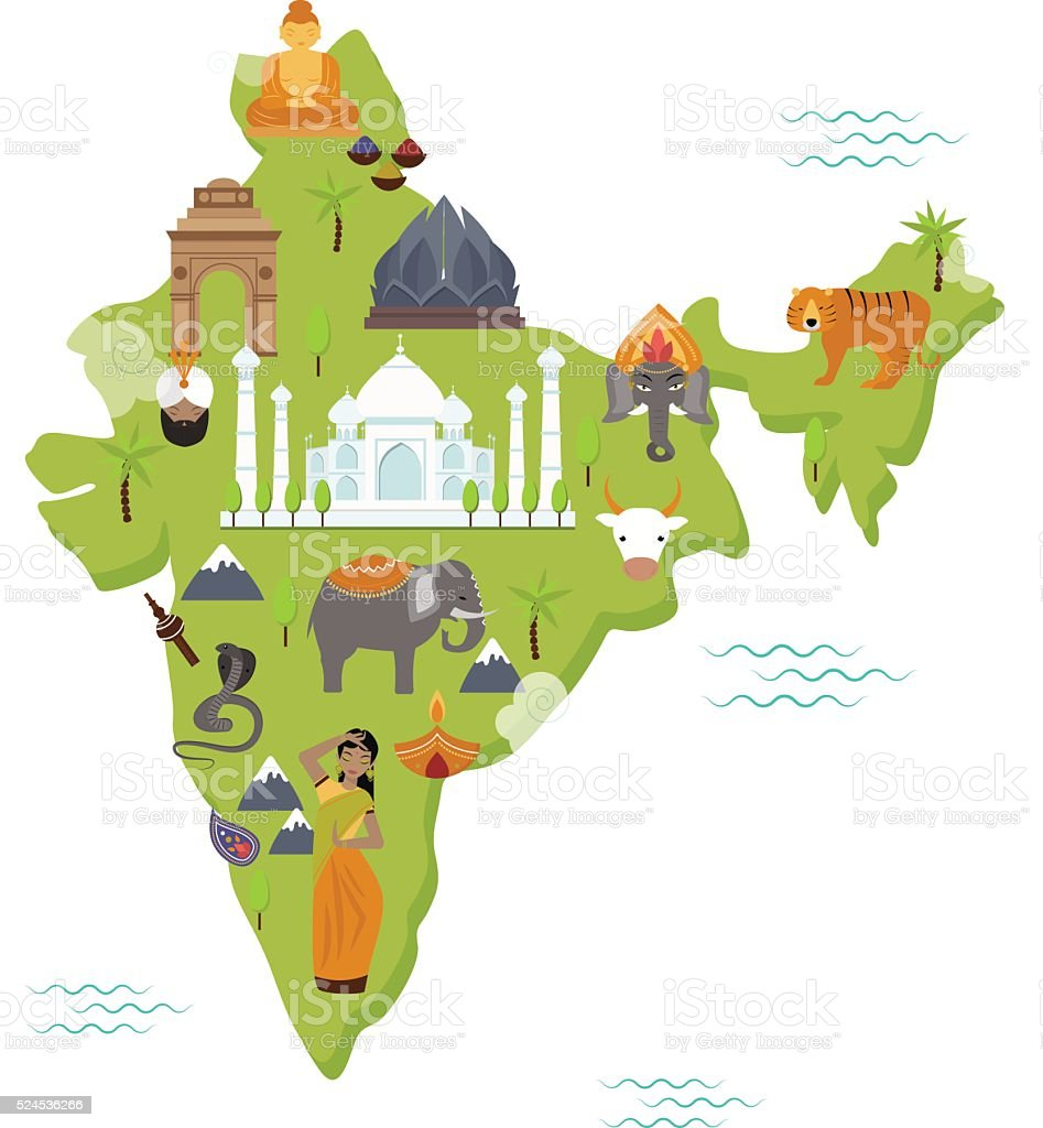 Traditional symbols country travel national form map india flat traditional symbols country travel national form map india flat vector royalty free traditional symbols country gumiabroncs Images