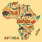 Traditional symbols of Africa in the form of a map