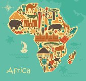 Symbols of nature, culture and architecture of Africa in the form of a stylized map