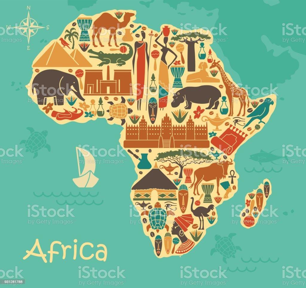 Símbolos tradicionais da África sob a forma de um mapa de stilized - ilustração de arte em vetor