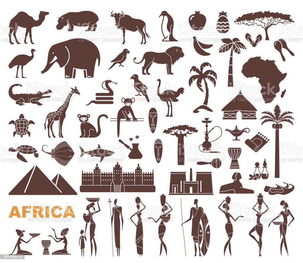 Traditional symbols of Africa vector art illustration