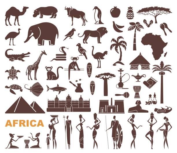 Símbolos tradicionales de África - ilustración de arte vectorial