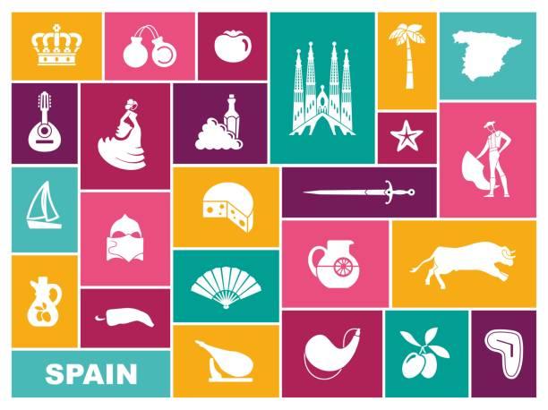 stockillustraties, clipart, cartoons en iconen met traditionele symbolen van cultuur en bezienswaardigheden van spanje - castagnetten