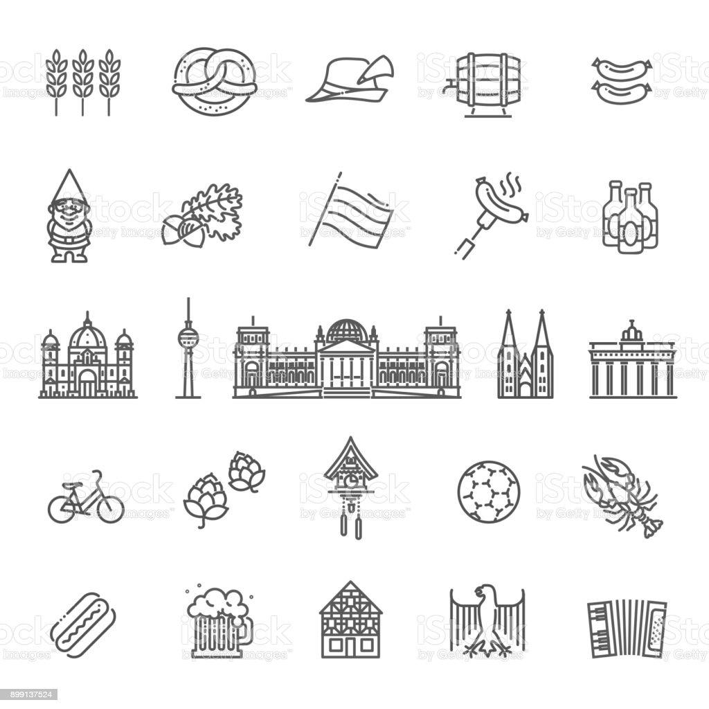 Traditionelle Symbole von Kultur, Architektur und Küche von Deutschland – Vektorgrafik