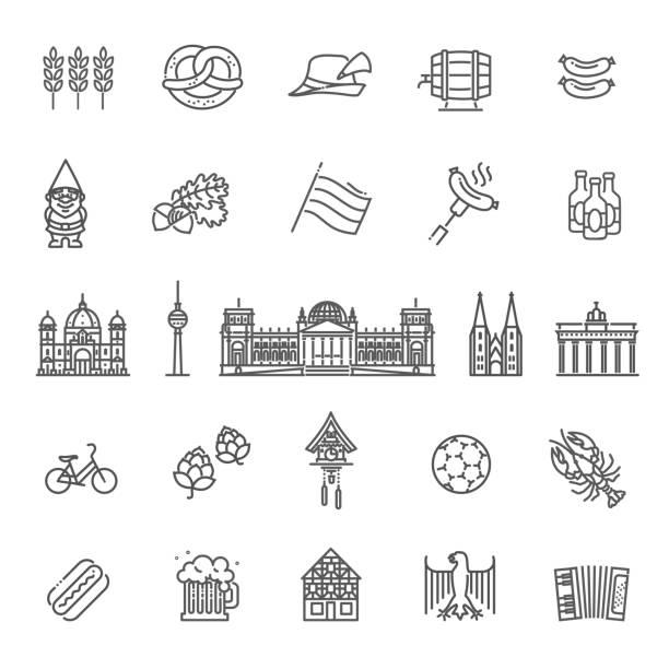 문화, 건축과 요리를 독일의 전통적인 상징 - 독일 stock illustrations