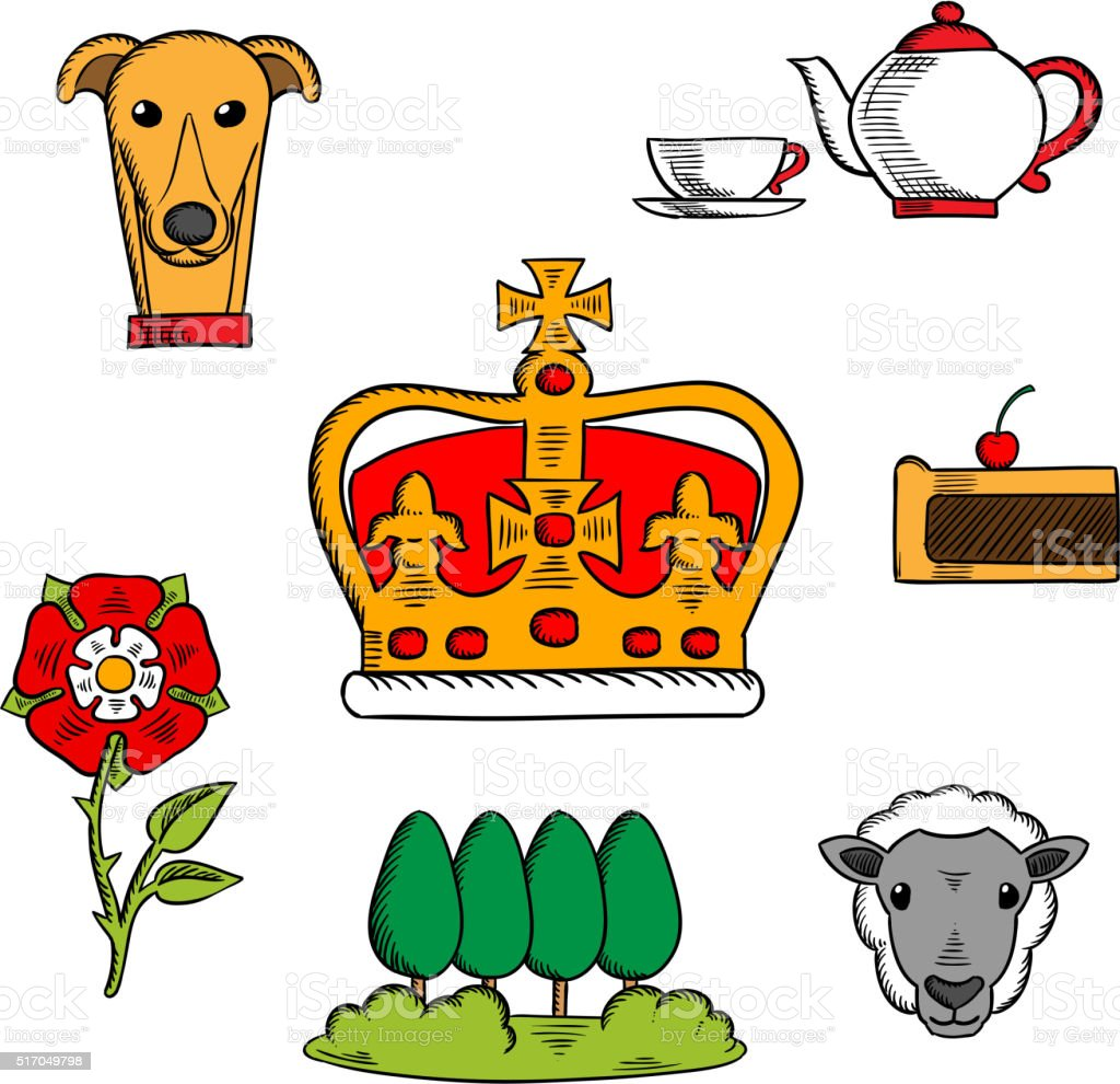 Traditional symbols of Great Britain vector art illustration