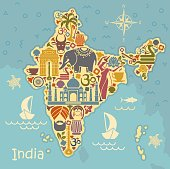 Traditional symbols of India in the form of a stilized map
