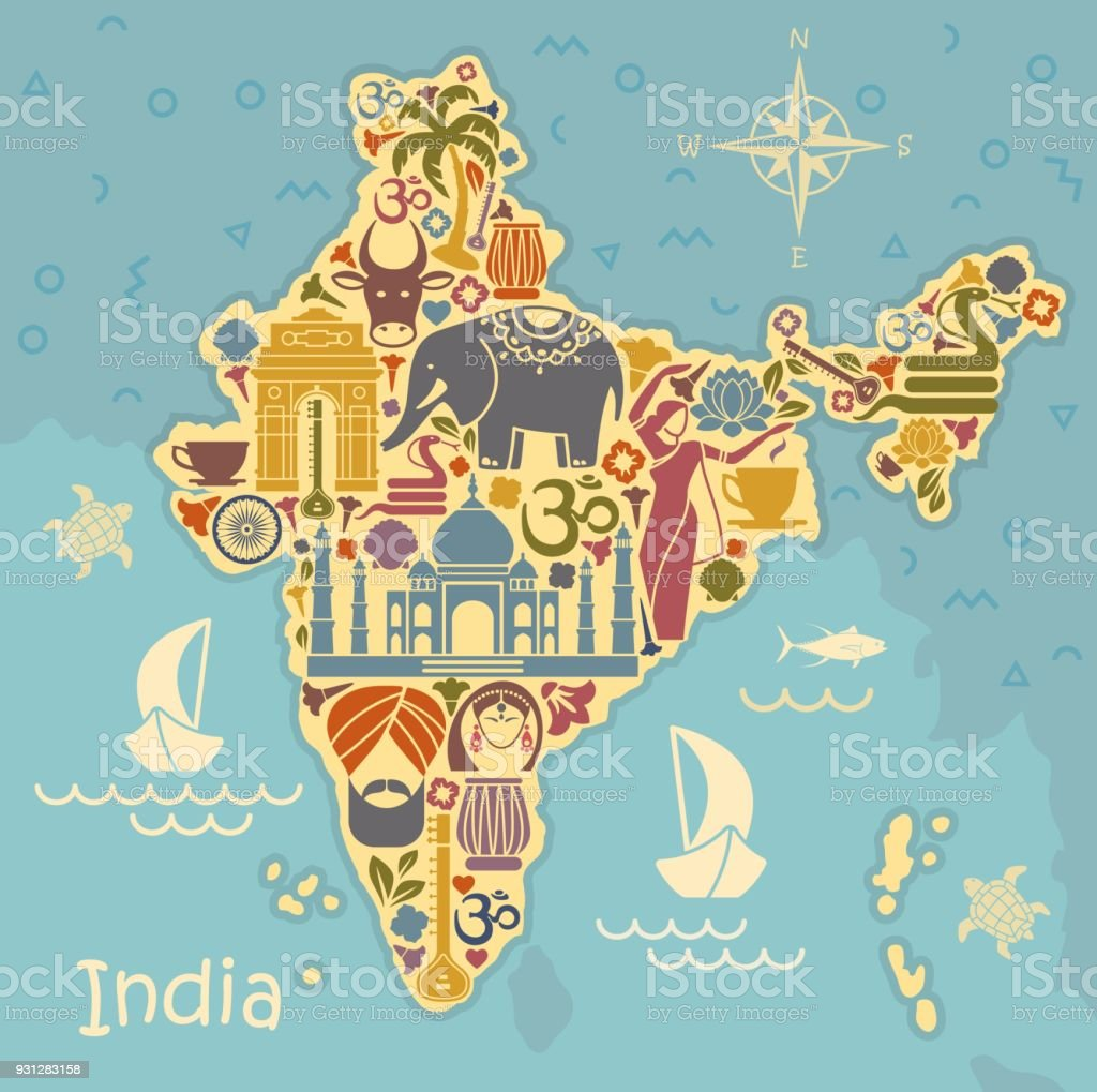 Traditional symbols of India in the form of a stilized map vector art illustration
