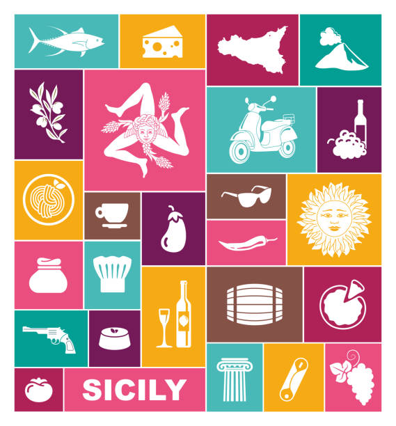 traditional symbols of nature, cuisine and culture of sicily. set of icons - sicily stock illustrations