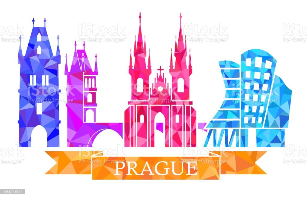 Traditional Symbols Of Prague In The Polygonal Style Powder Tower