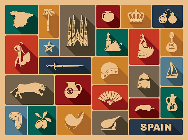 stockillustraties, clipart, cartoons en iconen met traditional symbols of spain - castagnetten