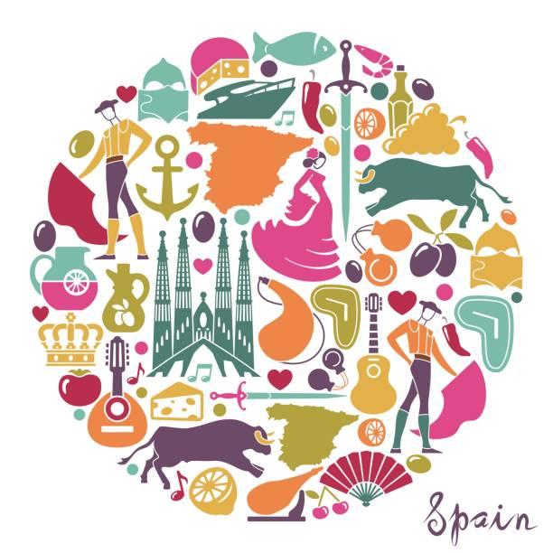 stockillustraties, clipart, cartoons en iconen met traditionele symbolen van spanje - castagnetten