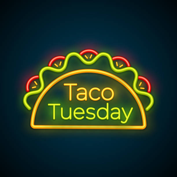 traditional taco tuesday meal neon light sign - taco stock illustrations, clip art, cartoons, & icons