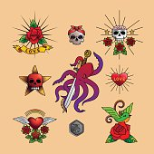 Traditional tattoo art icons