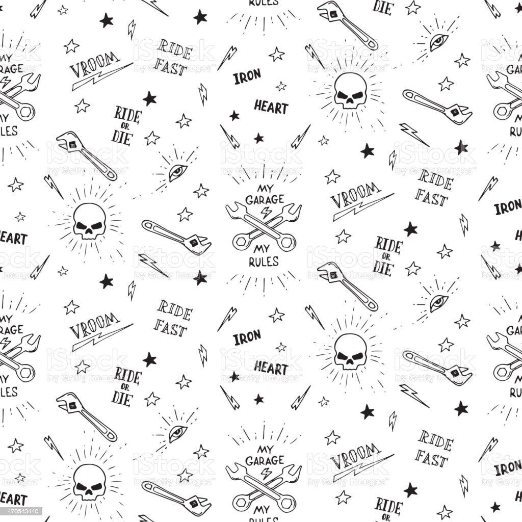 Traditional Tattoo Biker Pattern Royalty Free Stock Vector Art Amp