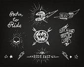 Traditional tattoo biker set