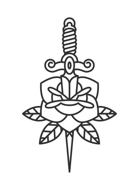 traditional tattoo flash rose with knife - swords tattoos stock illustrations, clip art, cartoons, & icons