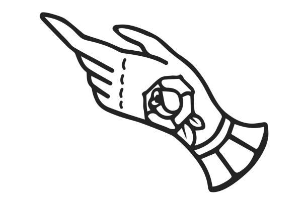 illustrations, cliparts, dessins animés et icônes de tatouage traditionnel fleurs roses d'encre old school tattoo style sur place - tatouages poignards