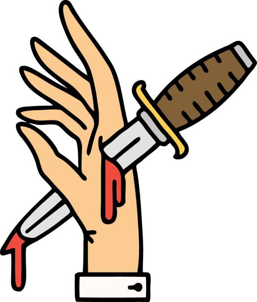 traditional tattoo of a dagger in the hand vector art illustration
