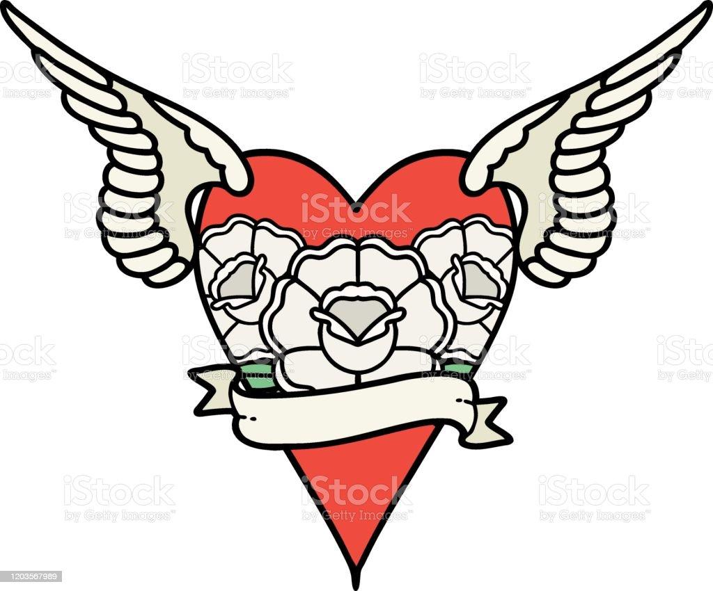 Bocetos De Tatuajes Tradicionales ilustración de tatuaje tradicional de un corazón volador con