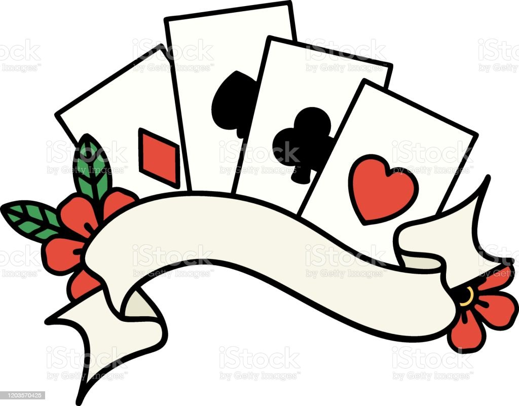 Traditional Tattoo Of Cards And Banner With Flowers Stock Illustration Download Image Now Istock