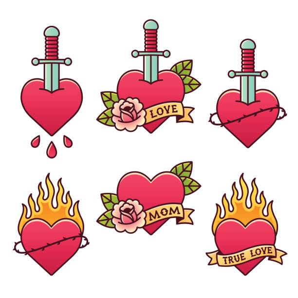 traditional tattoos set - fire tattoos stock illustrations, clip art, cartoons, & icons