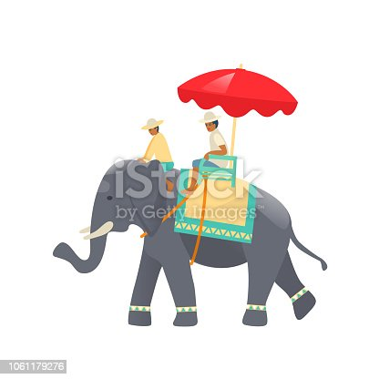 Traditional Thai animal elephant with thai decorative cloak, riders at top, sitting under beautiful colorful umbrella. Culture of Thailand, tourism, hiking around the country. Vector illustration.