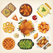 Traditional thanksgiving dinner table closeup. Top view on classic thanksgiving dishes