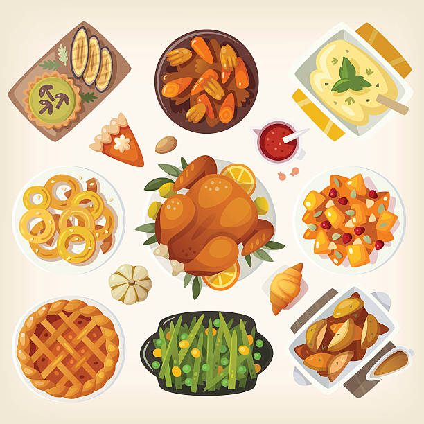traditional thanksgiving dinner - 속을 채운 stock illustrations