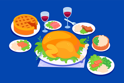 Traditional thanksgiving holidays dinner food. Celebration meals on a Thanksgiving day. Festive banquet dishes.