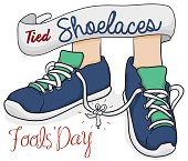 Cartoon poster with traditional prank for Fools' Day: tied shoelaces.