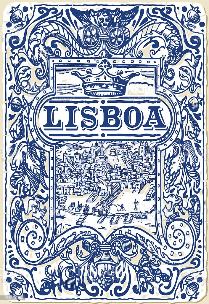 Traditional Tiles Azulejos Lisboa Portugal vector art illustration