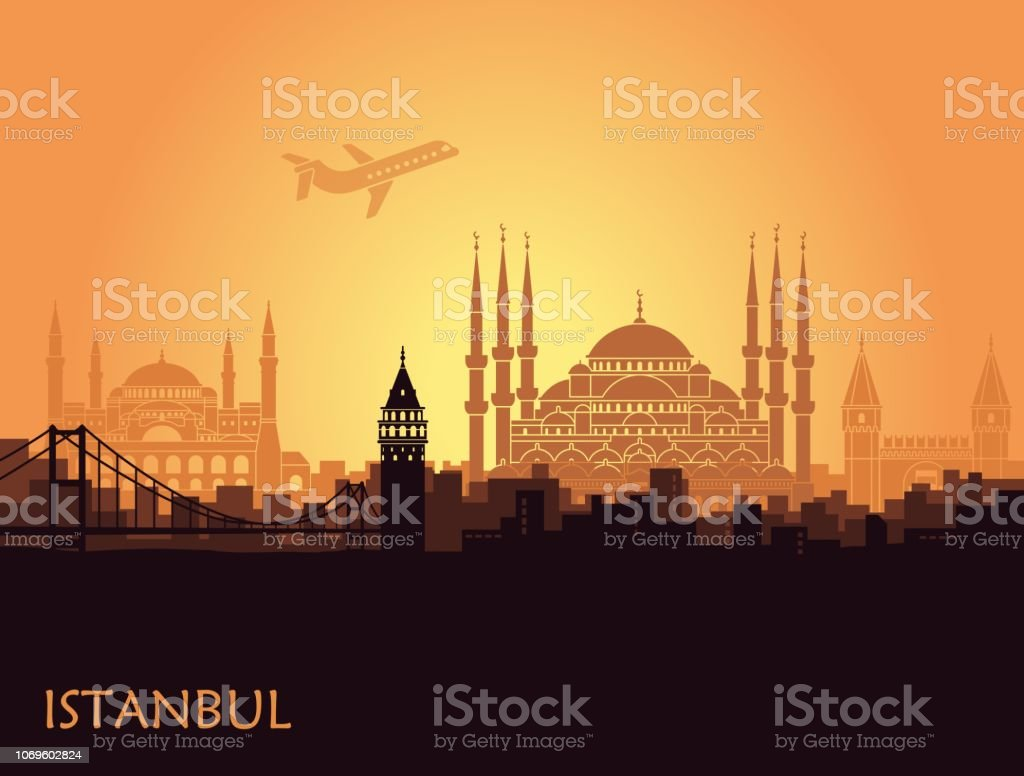 Traditional tourist symbols of Turkey in the form of heart vector art illustration
